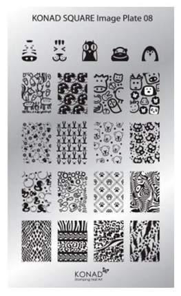 Трафареты для ногтей KONAD Пластина для стемпинга Square Image Plate 08