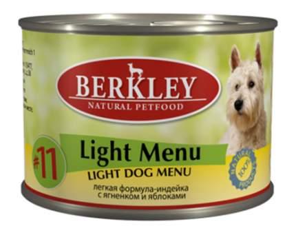 Консервы для собак Berkley Light Menu, индейка, ягненок, яблоко, 200г