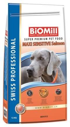 Сухой корм для собак BIOMILL Swiss Professional Maxi Sensitive Lamb, лосось, рис, 12кг