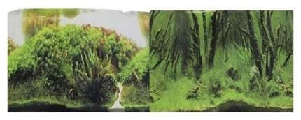 Фон для аквариума Prime Коряги с растениями/Растительные холмы, винил, 60x30 см