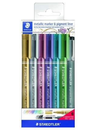 Набор маркеров Staedtler Metallic 8323 1-2 мм, 6 цветов + ручка,