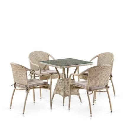 Комплект плетеной мебели Afina T706/Y480C-W85 Latte (4+1)