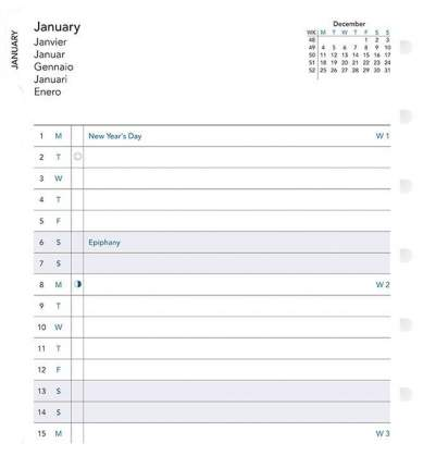 Запасной блок для тетради Filofax Month Planner 2019 1078316