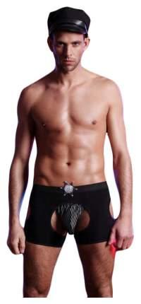 Костюм полицейского Candy Boy (стринги, шорты, значок, головной убор), черный, OS