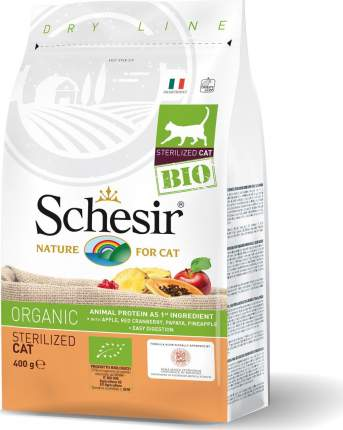 Сухой корм Schesir Bio Sterilised Cat для стерилизованных кошек (400 г, Домашняя птица)