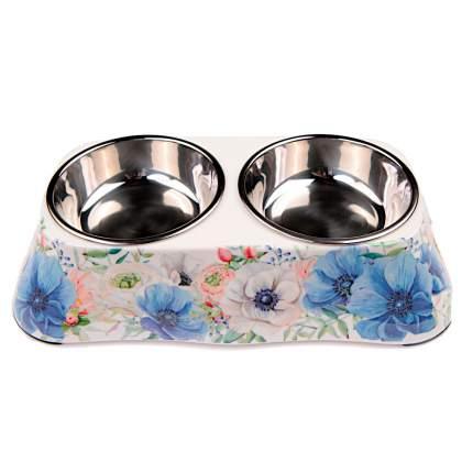 Миска для домашних животных Bobo, двойная, синяя с цветами, 150+150 мл