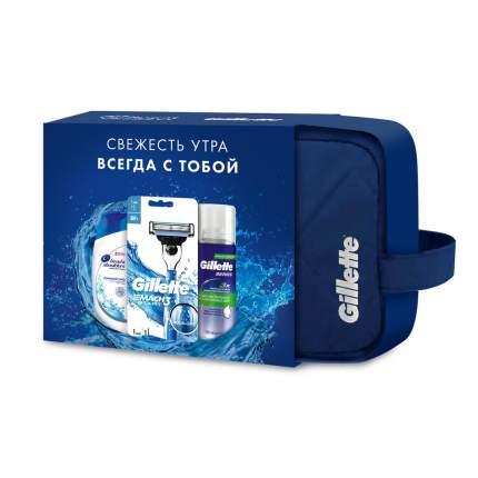 Подарочный набор Gillette Косметичка+Бритва с 1 см.кас.+Пена д/бритья 100мл+Шампунь 90мл