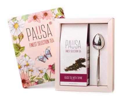 Набор Pausa flowers чай черный с чабрецом и ложка-ситечко