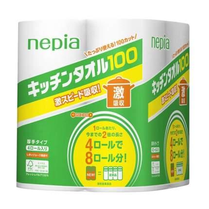 Кухонные бумажные полотенца Nepia 4 ролла по 100 листов