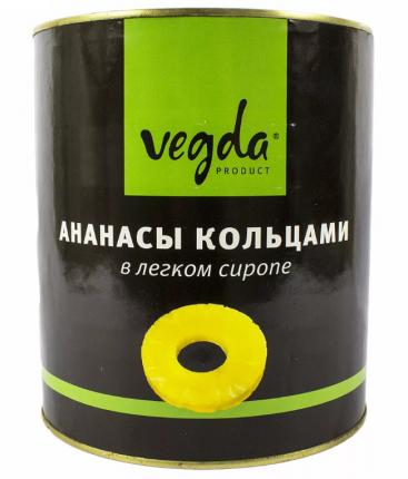 Ананасы Vegda в сиропе кольца 3.1 л