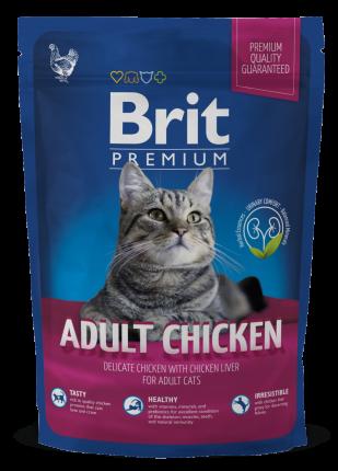 Сухой корм для кошек Brit Premium Adult Chicken, курица, 0,8кг