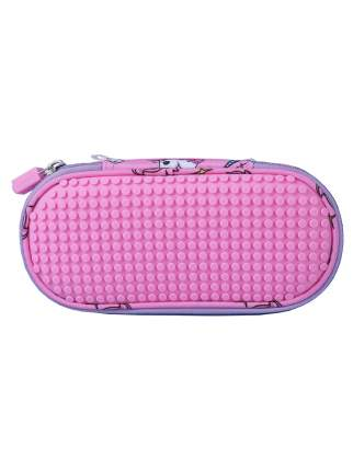 Пенал школьный пиксельный Super class pencil case WY-B012 с единорогами розовый