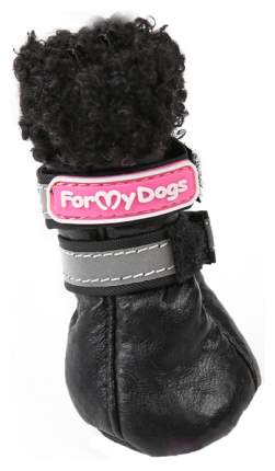 Сапоги для собак FOR MY DOGS Овечка, кожаные зимние, черные, FMD619-2017 BL 1