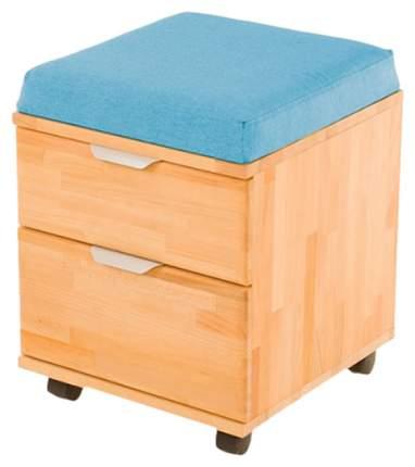 Тумба-пуфик Pondi (цвет каркаса: массив бука, цвет товара: голубой)