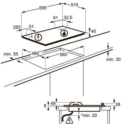 Встраиваемая варочная панель газовая Electrolux GPE263FB Black