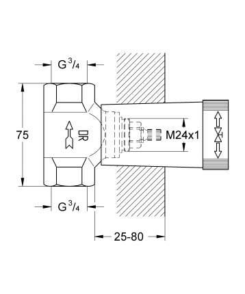 Механизм скрытого вентиля GROHE, резьба 3/4″, латунь