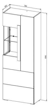 Платяной шкаф МФ Мелания MEL_2004 199,5х76,6х39,5, бетон чикаго/дуб вотан