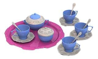 Набор посуды чайный сервиз волшебная хозяюшка, 15 предметов на подносе