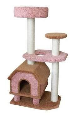 Комплекс для кошек ПУШОК, ковролиновый «Конура на ножках» с площадкой и лежанкой