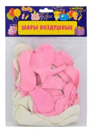 Набор шаров ACTION! Сердечки Нежность розовые, белые 50 шт.