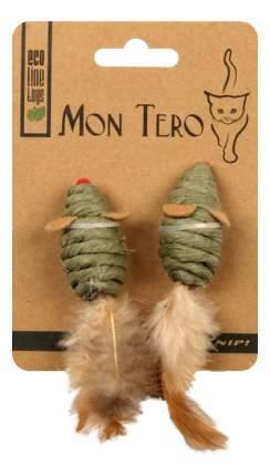 Мышь для кошек Мон Теро Эко, Перо, Листья кукурузы, 5 см 2шт