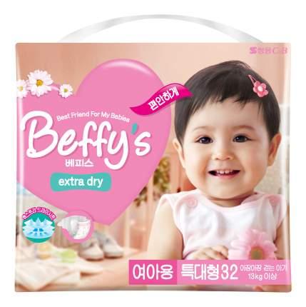 Подгузники Beffy's Extra Dry XL для девочек более 13 кг 32 шт.