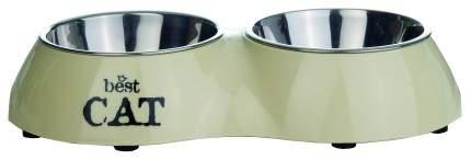 Двойная миска для кошек I.P.T.S, пластик, резина, сталь, бежевый, 2 шт по 0.16 л