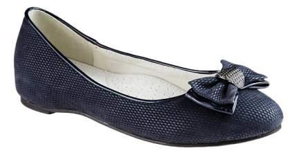 Туфли детские Adagio Для девочки синие на каблучке декорированные бантиком р.33