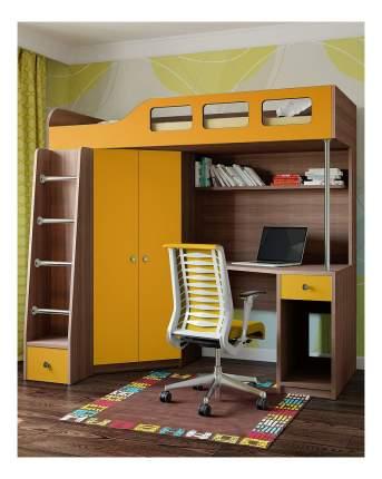 Кровать-чердак РВ мебель Астра 7 дуб шамони/оранжевый