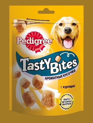 Лакомство для собак Pedigree Tasty Bites, кусочки, курица, 130г