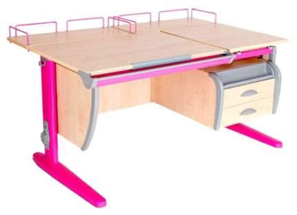 Парта Дэми СУТ-17-04 с подвесной тумбой и двумя задними приставками Розовый 120х80 см