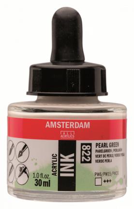 Акриловые чернила Royal Talens Amsterdam №822 зеленый жемчужный 30 мл