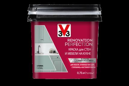 Краска V33 для стен и мебели на кухне RENOVATION Цвет олива