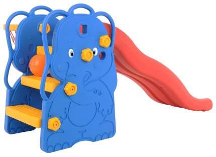 Горка волнистая Eduplay Слон с баскетбольным кольцом 173х147х85 см сине-красно-желтая