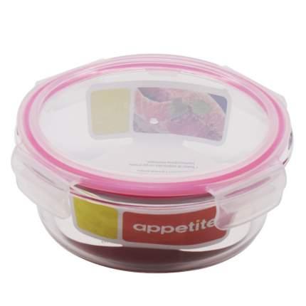 Контейнер стеклянный круглый 620мл роз ТМ Appetite