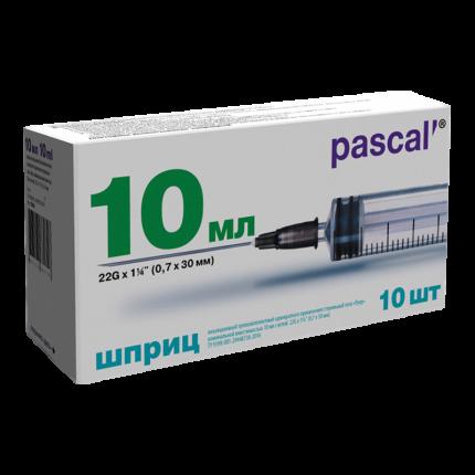 Шприц 3-х компонентный PL Паскаль 10 мл с иглой 21G 0,8 х 40 мм 10 шт.