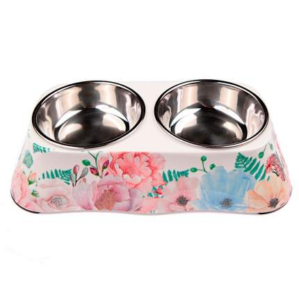 Миска для домашних животных Bobo, двойная, розовая с цветами, 150+150 мл
