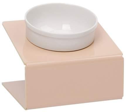 Одинарная миска для кошек и собак АртМиска, керамика, пластик, бежевый, белый, 0.35 л
