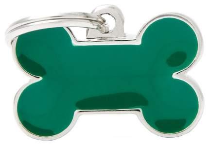Медальон на ошейник My Family Basic Handmade в форме косточки зеленый