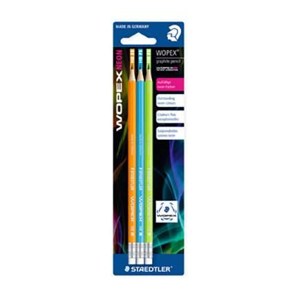 Staedtler Карандаш чернографитный Wopex Neon HB, 3шт (цв, неоновый зел, оранж, голуб,)/