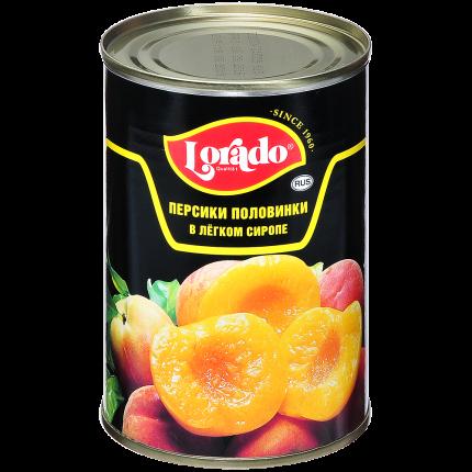 Персики Лорадо в сиропе половинки 0,425л