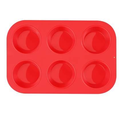 Tobox Силиконовая форма для выпечки печенья 6 ячеек красная 25,5 *17,5 *4 см