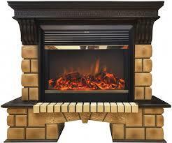 Камин с лампами накаливания Real-Flame Stone Brick 26 с очагом Moonblaze lux Bl/Br