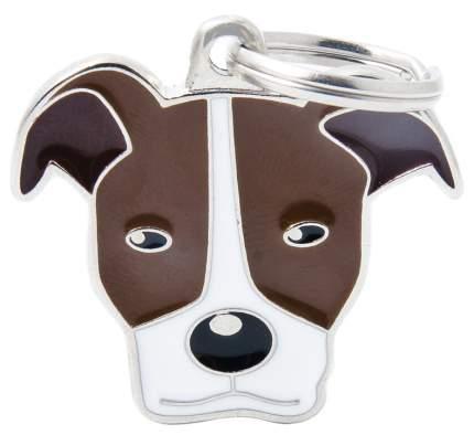 Адресник на ошейник для собак My Family Colors Питбуль, средний, 3,3х3 см