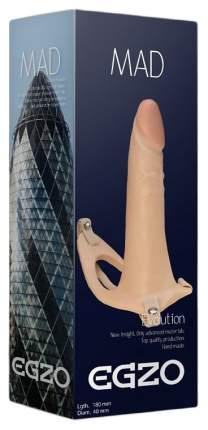 Телесный полый мужской страпон MAD 18 см