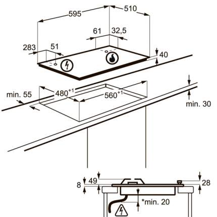 Встраиваемая варочная панель газовая Electrolux GPE263FW White