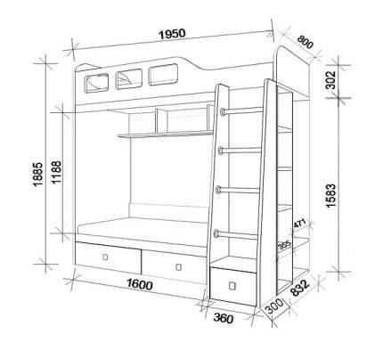 Двухярусная кровать РВ мебель Астра 3 дуб молочный/оранжевый