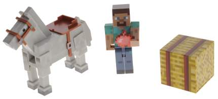 Minecraft Игровой набор фигурка Стива с лошадью Майнкрафт 4 предмета