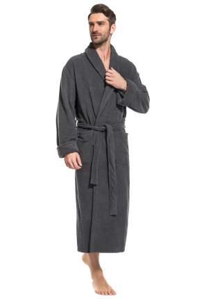 Мужской удлиненный махровый халат Pure Comfort Peche Monnaie 940, темно-серый, XL