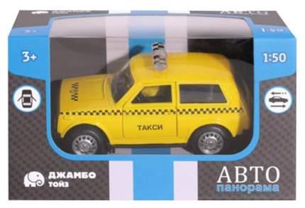 Машинка пластиковая Автопанорама Инерционная машинка Такси 1:50 желтая